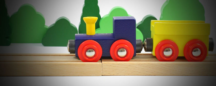 A child's wooden train set
